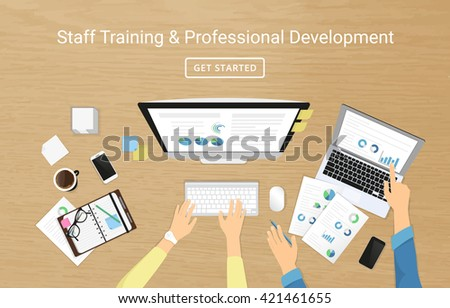 Realistic workplace banner for staff training and professional developement. Top view with human female and male hands on the textured table working with computer and laptop, using diary with graphs  - stock vector