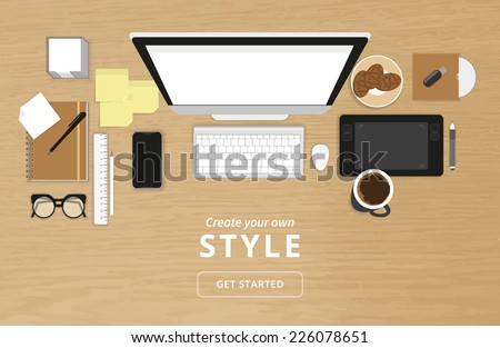 Realistic workplace organization. Top view with textured table, computer and smartphone, graphic tablet, stickers, glasses, cd disk, diary and coffee mug. Desktop vector illustration  - stock vector