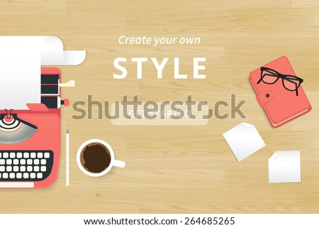 Realistic workplace organization. Top view with textured table, typewriter, stickers, glasses, diary and coffee mug - stock vector