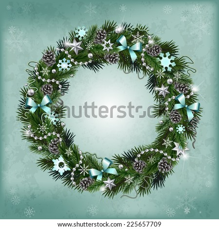 Realistic wreath of fir branches with elements for Christmas and New Year design: snowflakes, branches, pine cones, ribbons, stars, garlands, beads - stock vector