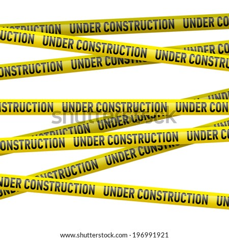 Realistic yellow danger tape with Under construction text. Illustration on white background - stock vector
