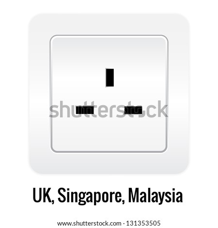 Realistick socket illustration isolated on white. UK, Singapore, Malaysia type. - stock vector
