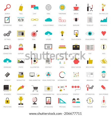 Really big set of 64 modern flat icons on SEO and internet usage. Search optimization, keywording, data visualization, interface planning, social networking  teamwork symbols. Each icon labeled.  - stock vector