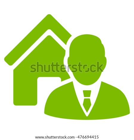 Realtor icon. Vector style is flat iconic symbol, eco green color, white background.