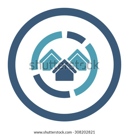 Realty diagram vector icon. This rounded flat symbol is drawn with cyan and blue colors on a white background. - stock vector