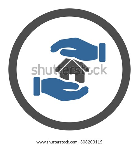 Realty insurance vector icon. This rounded flat symbol is drawn with cobalt and gray colors on a white background.