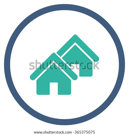 Realty vector icon. Style is bicolor flat circled symbol, cobalt and cyan colors, rounded angles, white background. - stock vector