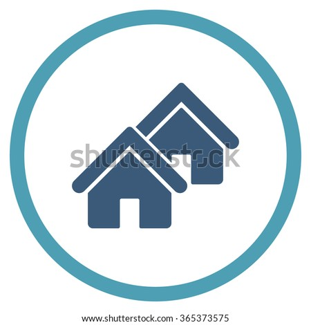 Realty vector icon. Style is bicolor flat circled symbol, cyan and blue colors, rounded angles, white background. - stock vector