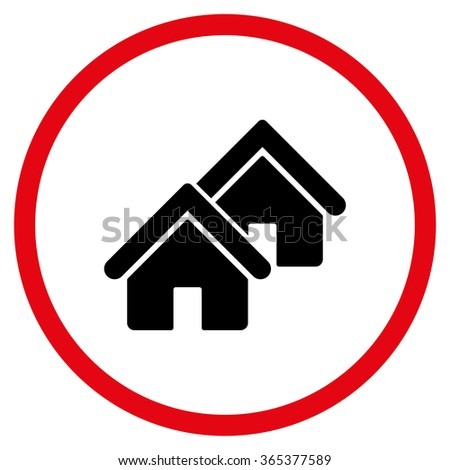 Realty vector icon. Style is bicolor flat circled symbol, intensive red and black colors, rounded angles, white background. - stock vector