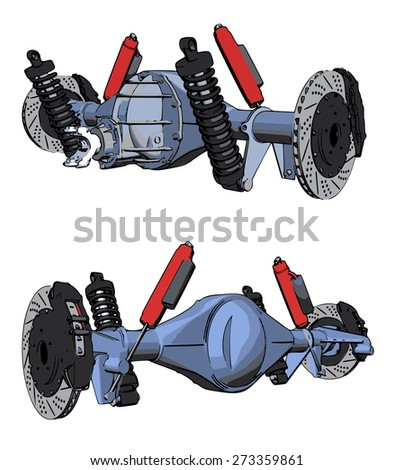 Rear axle assembly with suspension and brakes. Red dampers. - stock vector