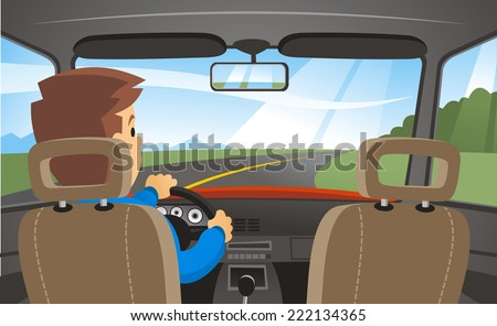 Rear view of a man driving a car - stock vector