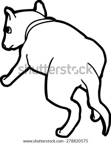 Rear view of outlined cartoon puppy dog over white