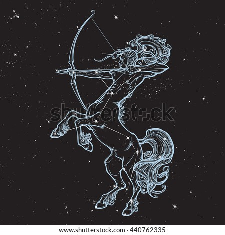 Rearing Centaur holding bow and arrow. Boho style look. Black nightsky background with stars. Zodiac sign. Astrology design. EPS10 vector illustration - stock vector