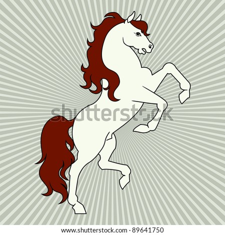 rearing horse vector in brown and white colors - stock vector