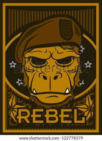 Rebel Ape - stock vector