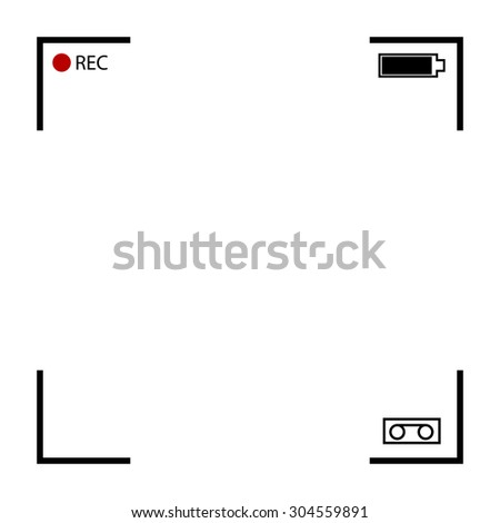 Rec background with isolated scan lines and shades from edges  - stock vector