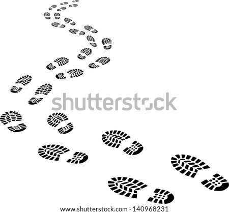 receding footprints - stock vector