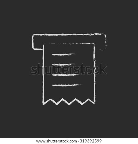 Receipt hand drawn in chalk on a blackboard vector white icon isolated on a black background. - stock vector