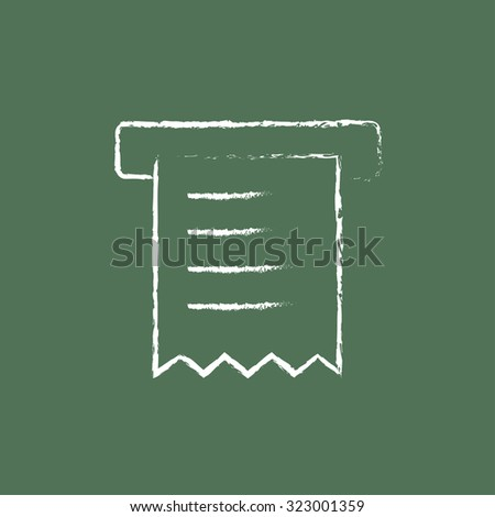 Receipt hand drawn in chalk on a blackboard vector white icon isolated on a green background. - stock vector