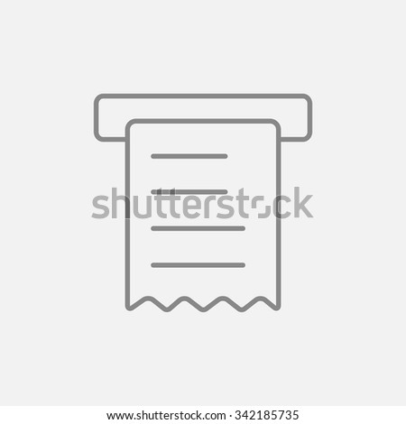 Receipt line icon for web, mobile and infographics. Vector dark grey icon isolated on light grey background. - stock vector