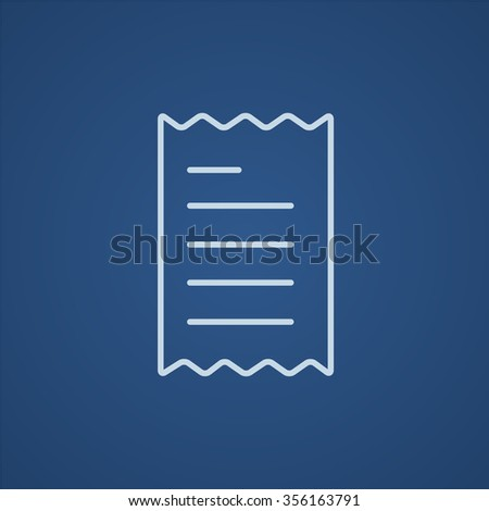 Receipt line icon for web, mobile and infographics. Vector light blue icon isolated on blue background. - stock vector