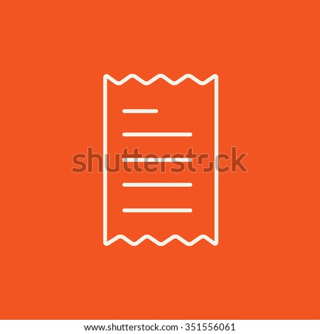 Receipt line icon for web, mobile and infographics. Vector white icon isolated on red background. - stock vector
