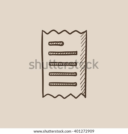 Receipt sketch icon. - stock vector