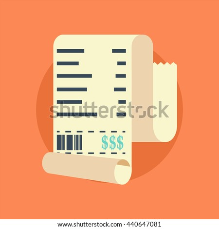 Receipt vector icon in a flat style isolated on a colored background. Concept paper receipts icons. Design receipt icon with a total cost. - stock vector