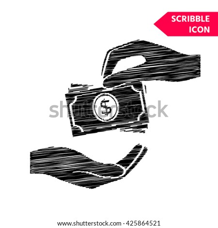 Receiving money banknotes stack icon. Cash stacks money banknotes. Scribble icon for you design. - stock vector
