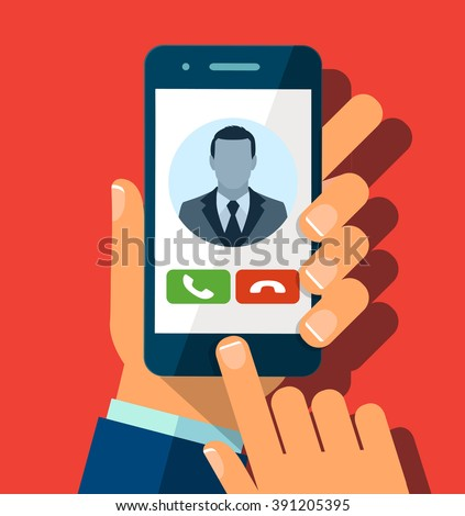 Receiving phone call - stock vector