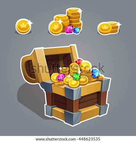 Receiving the cartoon treasure. Cartoon chest set with coin and rhinestone for game interface  Vector illustration. - stock vector