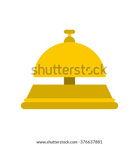 Reception bell flat icon isolated on white background - stock vector