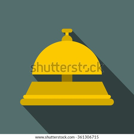 Reception bell flat icon on a blue background  - stock vector