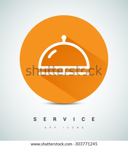 Reception bell. Service line flat vector icon for websites and apps mobile minimalistic flat design - stock vector