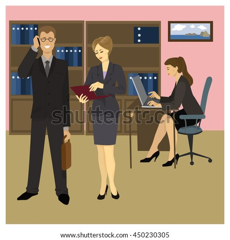 Reception Manager, Secretary and office workers. Vector illustration