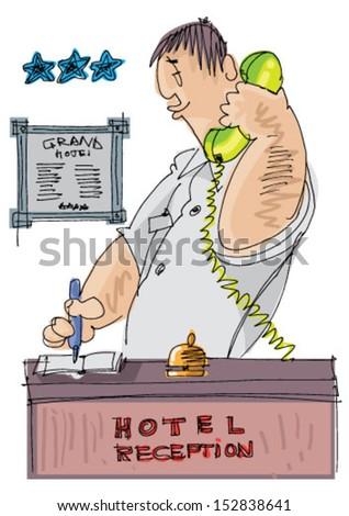 receptionist - cartoon - stock vector