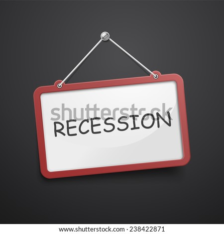 recession hanging sign isolated on black wall  - stock vector