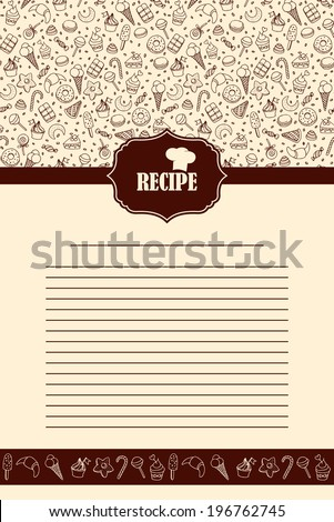 Recipe book page with hand drawn sweets elements - stock vector