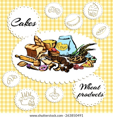 Recipe book, pastry, pastries, cakes and muffins - stock vector