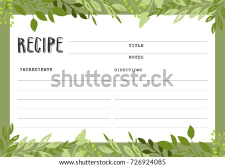 Recipe Card Cookbook Template Page Stock Vector 726924085 ...