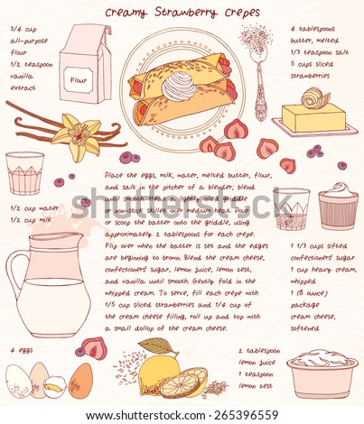 Recipe card. Creamy strawberry crepes. Vector illustration.