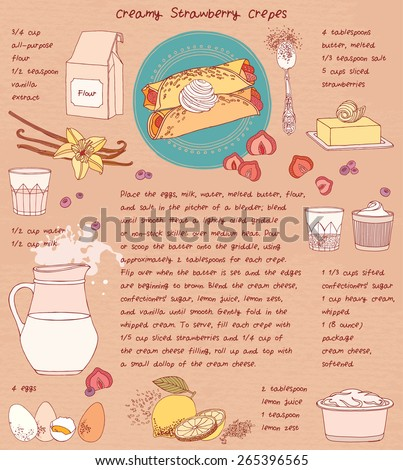 Recipe card. Creamy strawberry crepes. Vector illustration. - stock vector