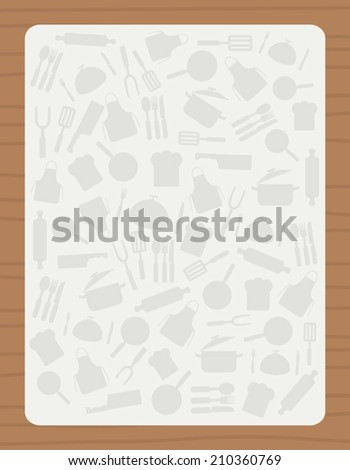 Recipe Card Culinary Template Kitchen Utensils Stock Vector