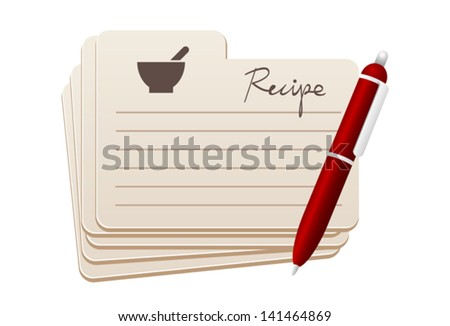 recipe cards with red pen
