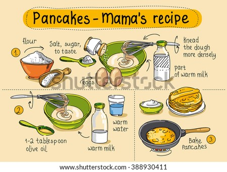 Vetor stock de recipe homemade pancakes step by step livre de recipe for homemade pancakes step by step instructions ccuart Choice Image