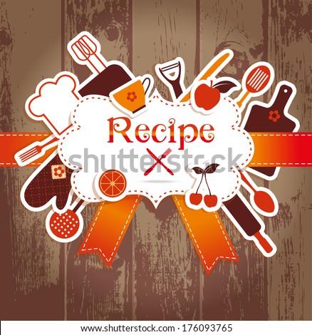 Recipe illustration. Kitchen background. - stock vector