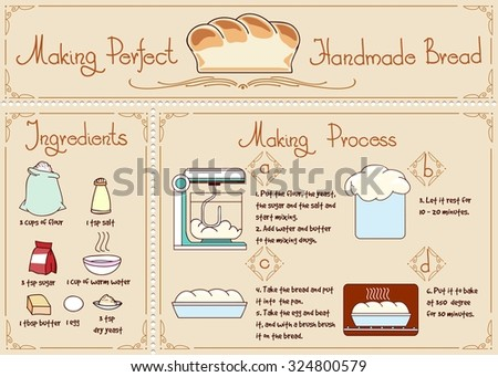 Recipe of homemade bread with ingredients. Hand drawn vector illustration. Bakery and yeast, sugar and salt, mixing procedure - stock vector