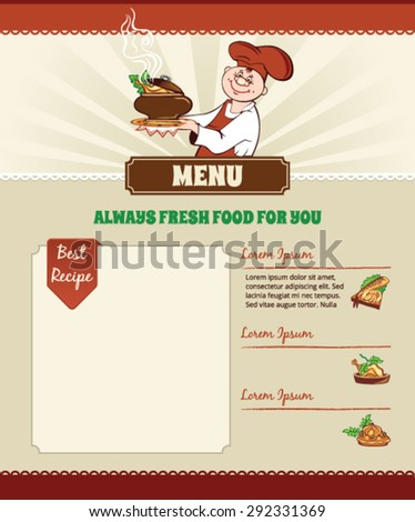 Recipe template with a Chef - stock vector