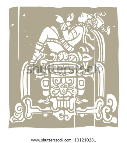 Reclining Mayan with throne adapted from temple images. - stock vector