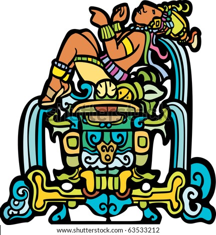 Reclining Mayan with waterfalls adapted from temple images. - stock vector